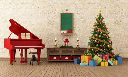 grand piano: Vintage living room with christmas-tree decoration and red grand-piano Stock Photo