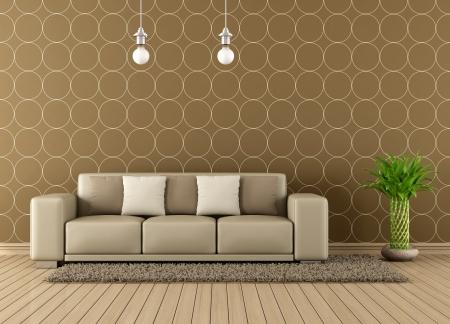Moderne Wohnzimmer mit eleganten Sofa - Rendering Standard-Bild