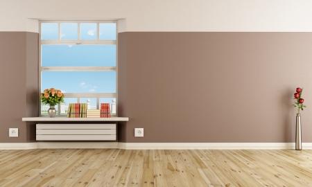 hardwood: Empty modern interior with radiator under windowsill - rendering