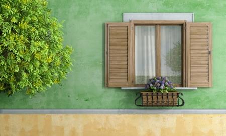 Фрагмент деревянного окна с цветочным горшком и дерево - рендеринга