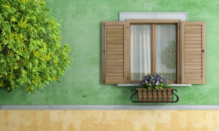Detail von einem hölzernen Fenster mit Blumentopf und Baum - Rendering