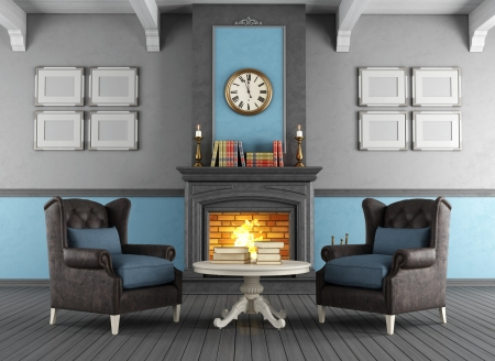 Fire place in living room. Stock Photo
