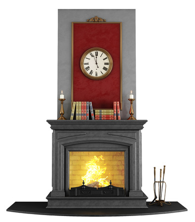 Classic stone fireplace isolated on white - rendering photo