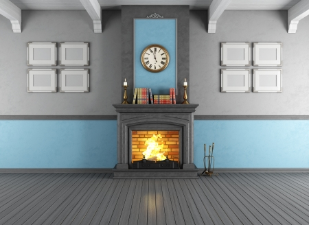 stone  fireplace: Empty vintage room with stone fireplace - rendering