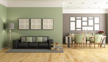 Современная гостиная с диваном, обеденным столом и стулом - оказание