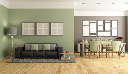 Modern living room with sofa,dining table and chair - rendering Stock Photo - 23081438