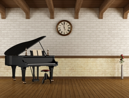 grand piano: Grand piano in a empty vintage room  - rendering Stock Photo