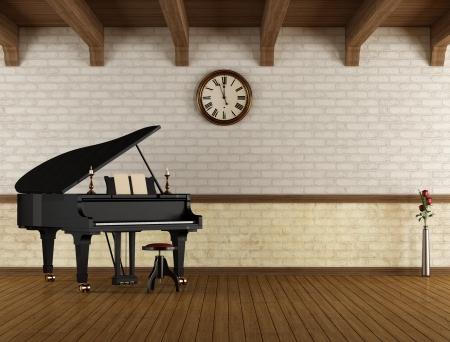grand piano: Piano de cola en un cuarto vac�o vendimia - representaci�n
