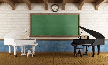Music school with two pianos and a blackboard - rendering photo