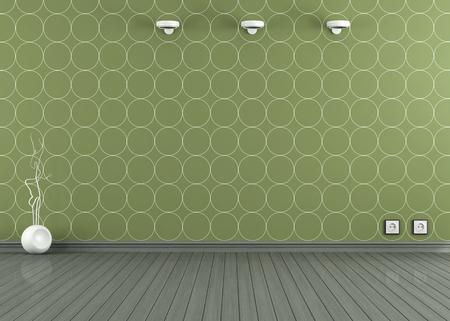 groen behang: Lege ruimte met groen behang, vaas en wandlamp - rendering