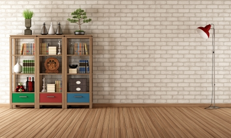 Bookcase: Empty living room with vintage bookcase - rendering