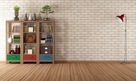 cổ điển: phòng khách trống rỗng, với tủ sách vintage - render