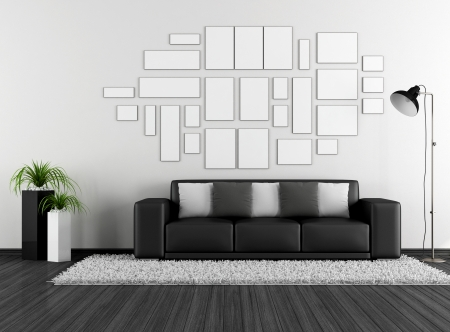 Black and white living room photo