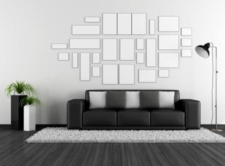 divan: Blanco y negro salón