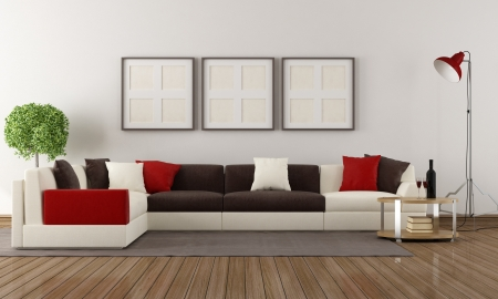 Corner sofa with colorful pillows in a modern living room photo