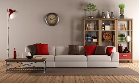 modernes Sofa mit bunten Kissen in einem Vintage-Wohnzimmer Standard-Bild