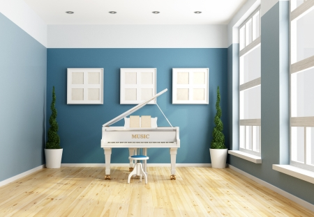 chamber: Blue chamber music  with a white grand piano -rendering