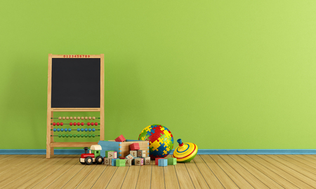 babyroom: Play room with toys and blackboard with abacus - rendering