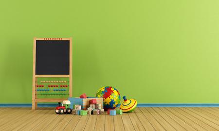 juguetes de madera: Sala de juegos con juguetes y pizarra con �baco - representaci�n
