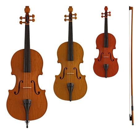 violoncello: contrabbasso, viola e violino isolato su bianco - rendering Archivio Fotografico