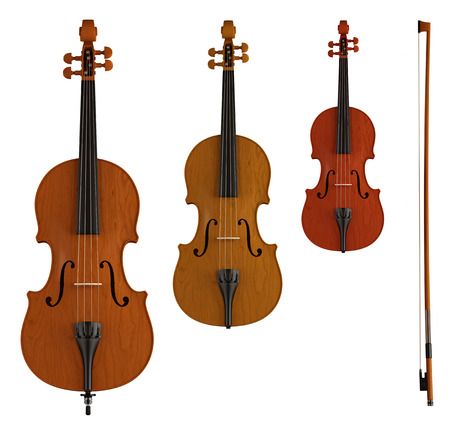 double bass, viola and violin isolated on white - rendering