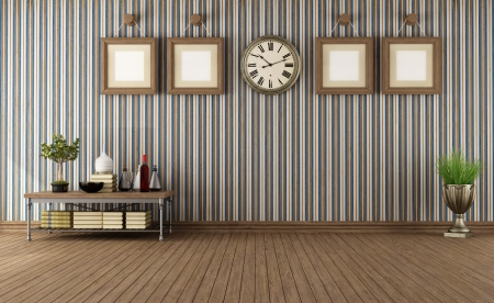Empty vintage room with retro objects and wallpaper- rendering photo