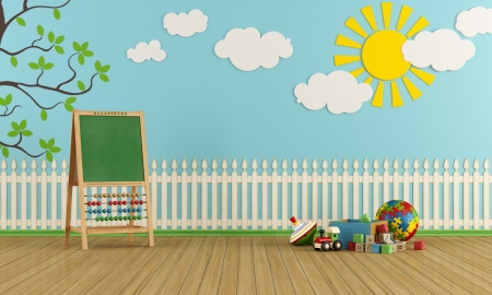 wooden toy: Playroom with wall decor, toys and blackboard with abacus - rendering