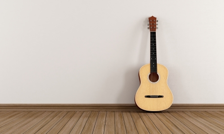 Acoustic guitar leaning against a white wall in an empty room - rendering Stock Photo - 23718188