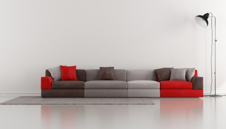 Minimalist lounge with colorful modern sofa and floor lamp - rendering