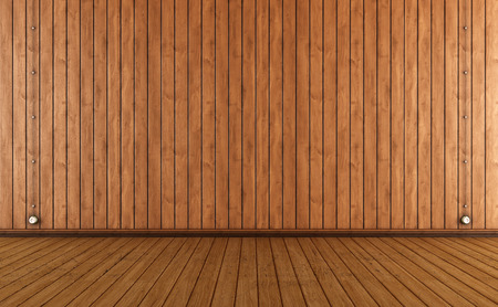 paneling: Vintage room with wooden wall paneling and electric outlet- render Stock Photo