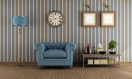 classic living room: classic leather armchair in avintage living room with wallpaper - rendering Stock Photo