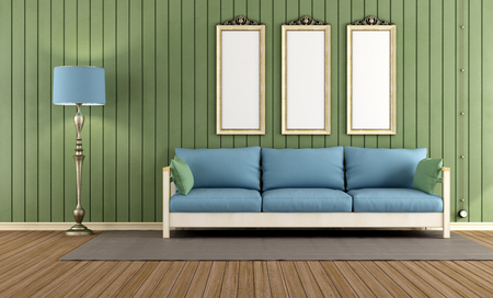 Vintage room with wooden sofa and green wall paneling - render photo