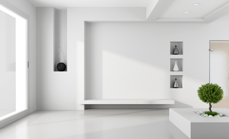 Minimalist white room with niche without furniture - rendering Stock Photo - 24024337