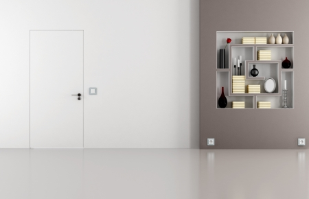 flush: Minimalist living room with doors flush with the wall and bookcase - rendering Stock Photo
