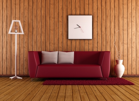 Modern red sofa in a wooden room - rendering photo