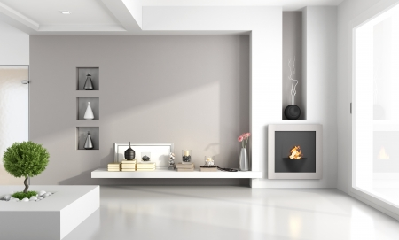 niche: Minimalist living room with niche fireplace - rendering