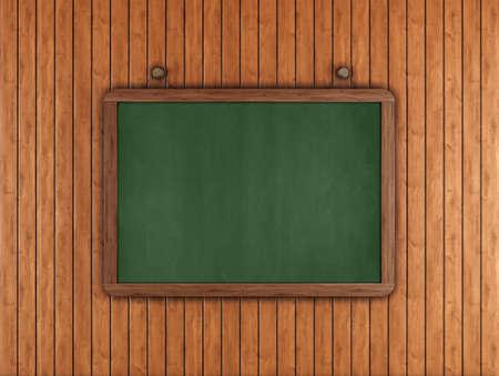 Green chalkboard on wood paneling - rendering -  photo