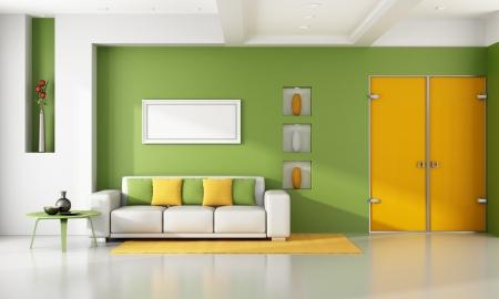 緑とオレンジ色のモダンなリビング ルーム - レンダリング