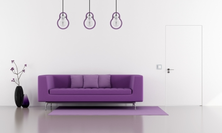 Purple sofa in a minimalist white lounge with door flush with the wall  - rendering photo