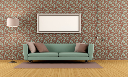 living room with vintage wallpaper and door flush with the wall  - rendering Stock Photo - 24203782