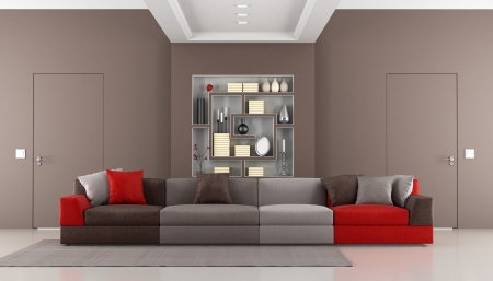 Brown livingroom with two doors flush with the wall,colorful sofa and bookcase - rendering photo
