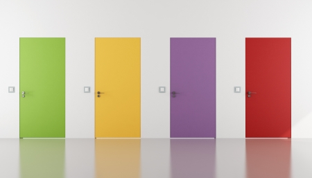 minimalist interior: Colorful door flush with the wall in a white room- rendering Stock Photo