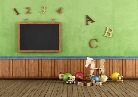 Weinlese-Spielzimmer mit Spielzeug und Tafel an der Wand - Rendering