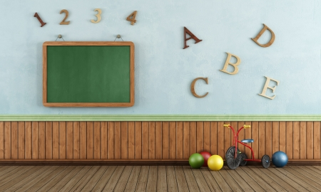 babyroom: Vintage Play room with tricycle,colorful ball and blackboard on wall - rendering Stock Photo