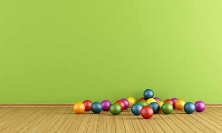 babyroom: Green play room with colorful plastic balls - rendering Stock Photo