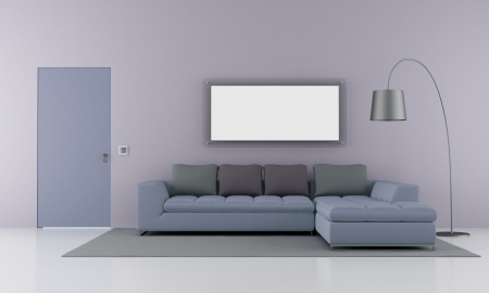 lilla: Minimalist living room with modern sofa  and  closed door - rendering