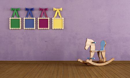 kidsroom: Vintage play room with wooden horse and colorful frame with bow- rendering Stock Photo