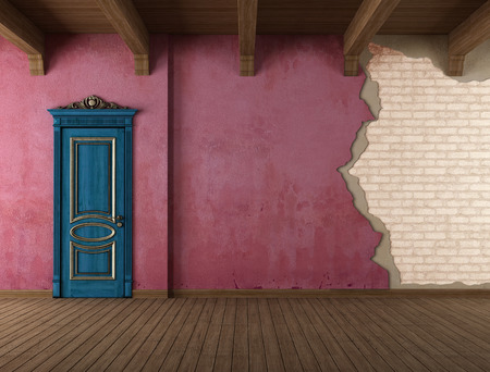 Grunge old room with blue classic door and cracked wall - rendering Stock Photo - 24265469