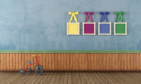 kidsroom: Vintage play room with tricycle e and colorful frame with bow- rendering