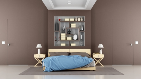 Brown contemporary bedroom with double bed, niche, and two doors - rendering photo